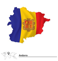 Map of andorra with flag vector