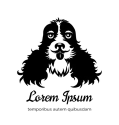 English cocker spaniel black dog logo vector