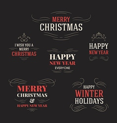 Set of vintage typographic merry christmas vector