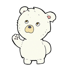 Comic cartoon waving polar bear vector