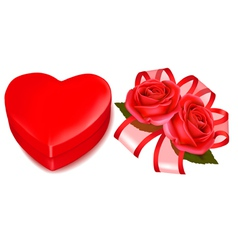 red roses and gift box vector image