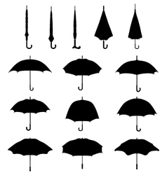 Silhouettes of umbrellas vector