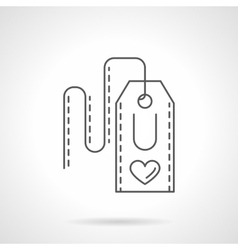 Label with heart flat line icon vector