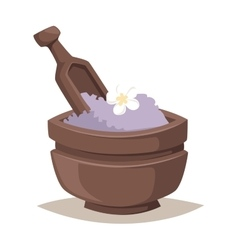 Lavender salt in bowl bath beauty treatment spa vector