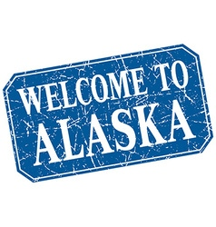 Welcome to alaska blue square grunge stamp vector