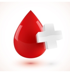 Red 3d style blood drop with white cross vector