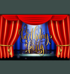 birthday party hand gold lettering poster on stage vector image vector image