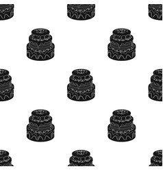 Blue three-ply cake icon in black style isolated vector