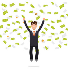 businessman jumping in money rain finance vector image vector image