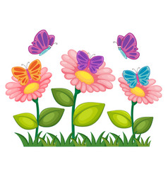 Butterflies flying in flower garden vector