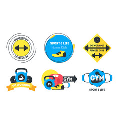 Cartoon fitness badges or labels set vector