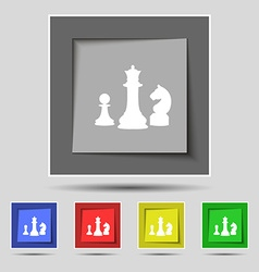 Chess game icon sign on original five colored vector
