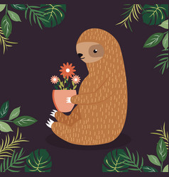 cute sloth with a pot of flowers vector image vector image
