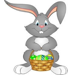 Easter bunny with basket vector image