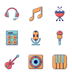 Electronic music icons set flat style vector