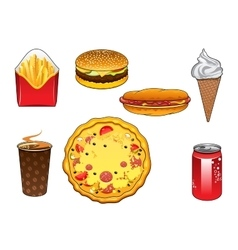 Fast food snacks soda can and ice cream vector