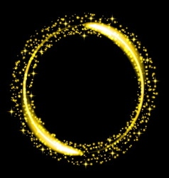 Gold glitter star dust circle vector image vector image