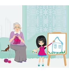 Grandmother and granddaughter relaxing at home vector image vector image