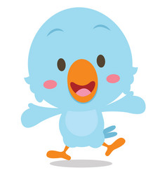 Happy blue bird cartoon vector