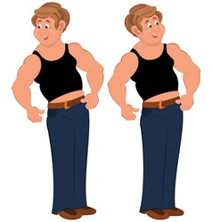 Happy cartoon man standing in sleeveless top vector