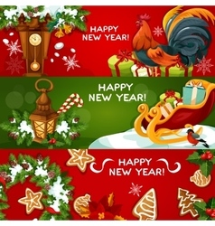 Happy new year holiday banners vector