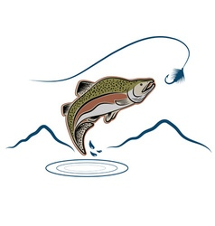 Jumping salmon on landscape background vector