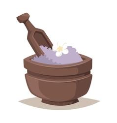 Lavender salt in bowl bath beauty treatment spa vector