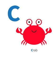 Letter C Crab Zoo alphabet English abc with vector image