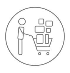Man pushing shopping cart line icon vector