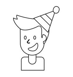 outlined portrait man smile vector image vector image