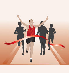 Runners crossing the finish line vector