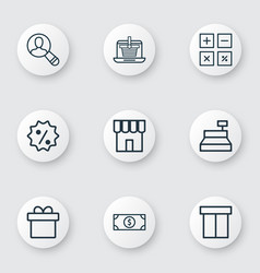Set of 9 ecommerce icons includes rebate sign vector