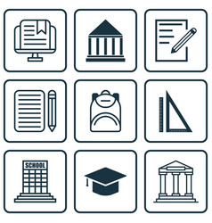 set of 9 education icons includes academy paper vector image