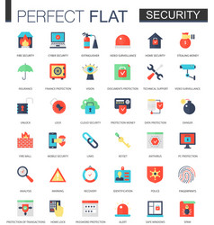 set of flat security and safety icons vector image