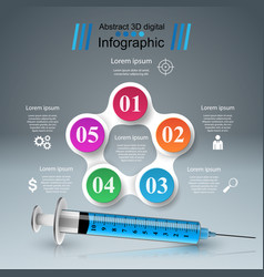 syringe icon 3d medical infographic vector image vector image