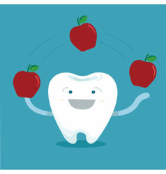Tooth play magic of apple vector image