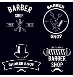 Set of vintage barber shop emblems label badges vector image