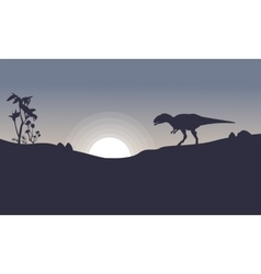 Mapusaurus on the hill scenery of silhouettes vector