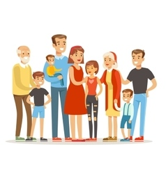 Happy big caucasian family with many children vector