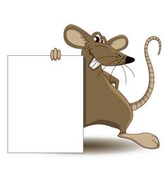 Cute mouse cartoon with blank sign vector