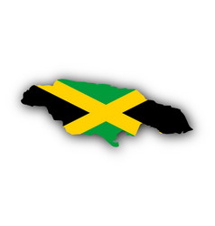 Map and flag of jamaica vector