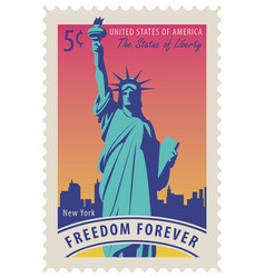 Statue of liberty in background of new york city vector