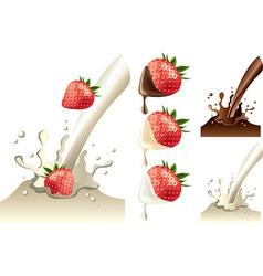 Strawberry milk set vector