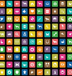 100 animals pets icons set vector
