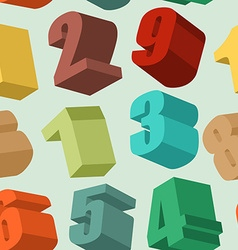 3d numbers seamless pattern background vector image