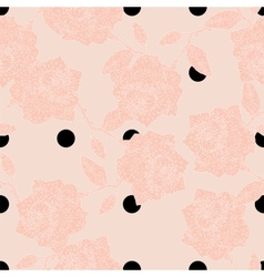 Seamless polka dot and roses vector