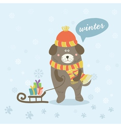 A winter scene with a cartoon dog vector