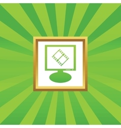 Movie monitor picture icon vector