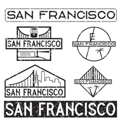 Landmarks of san francisco grunge vintage labels vector