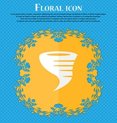 Tornado icon floral flat design on a blue abstract vector